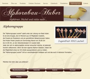 Website Alphornbau Huber